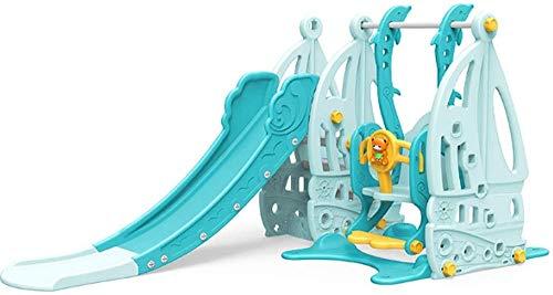 DGSD Multifunktionale Rutschkombination Spielzeug blau Kleine Klappschaukel und Korb mit Musikplayer können 50 kg tragen,Green