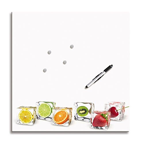 Eurographics MB-DT6105 Memo Board, Magnet- und Schreibtafel aus Glas, mit Motiv, inklusive Stift und Magnete, Delicate Fruits, 50 x 50 cm, weiß