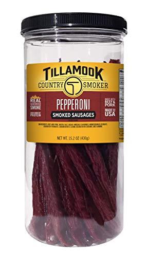 Tillamook Country Smoker Real Hardwood Smoked Sausages, Pepperoni, 15.2 Ounce Tall Jar, 20 Count