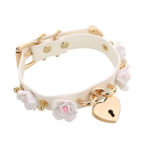 DDLG Choker Collar Punk Cosplay Rose Flower PU Leather Necklace Choker (White)