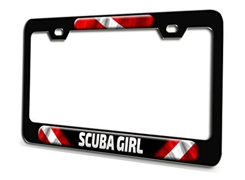 Makoroni - Scuba Girl Scuba Diving Black Steel License Plate Frame 3D Style