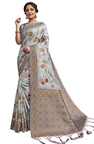 Triveni Grey Pure Silk Digital Printed Saree With Blouse - (SWDSG27773)