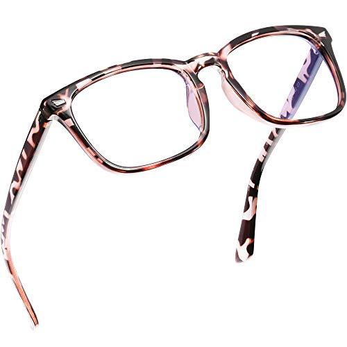 Epova TR90 Blaulichtfilter Brille Damen und Herren, Computer/Gaming Blaufilter Brille, Blaulicht Brille mit Klassische Rechteckigem Mode-Design, Verringerung der Augenbelastung, Leopard