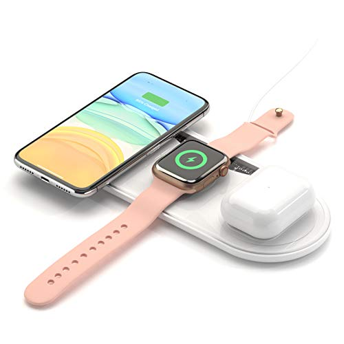 Wireless Charger, FAPO 3 in 1 Wireless Charging Station for iWatch/AirPods 1 2/AirPods Pro/iPhone 11/11 pro/11 Pro Max/XS Max/Xr/X/8/8 Plus and Any Other Qi-Enabled Phones(No AC Adapter)