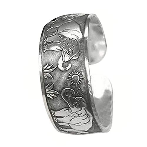 Carry stone Premium-Qualität Vintage tibetischen silbernen Elefanten geschnitzt offene Armreif Manschette breites Armband Schmuck
