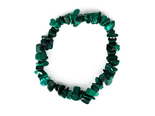 Taddart Minerals - Grünes Splitter Armband aus dem natürlichen Edelstein Malachit auf elastischem Nylonfaden...