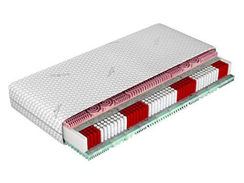 Matratze Grand Multi, Beidseitigematratze, 7 Härtegraden, Multipocket, Waschbar Bezug mit Klimafäden gesteppt, Antiallergische Eigenschaften, Resistent gegenüber Pilzbildung (140 x 200 cm)