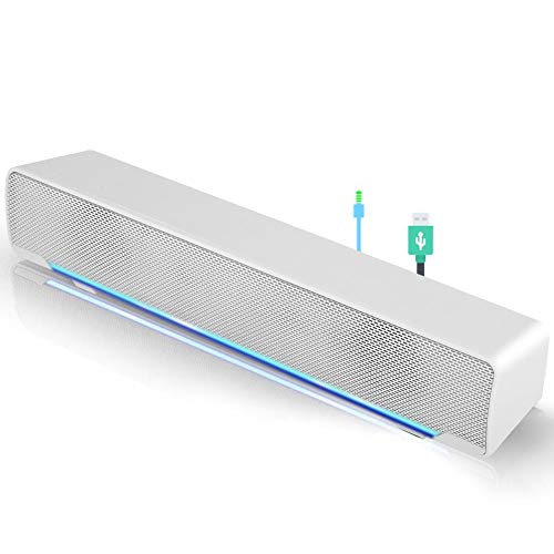 Mini portable USB Wired soundbar Music Player Bass surround Soundbox speaker with 3.5 mm audio plug for desktop, laptop, TV, smartphone, tablet PC, MP3, MP4 and more(white)