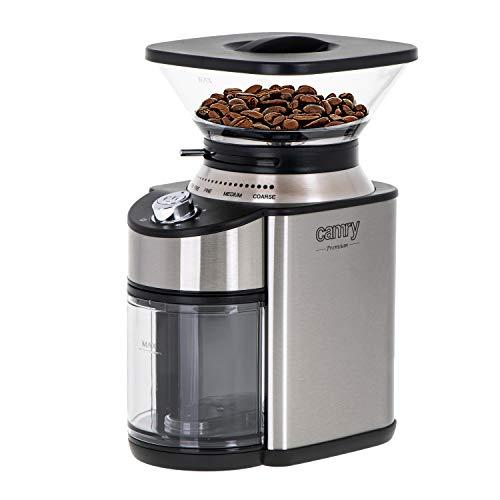 CAMRY CR 4443 Kaffeemühle mit Kegelmahlwerk, 200W, Gehäuse aus Edelstahl, 16 Mahlgrade, Volumen 230 g, Elektromühle mit automatischem Ausschalten, doppelter Sicherheitsschalter