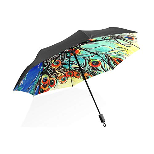 Regenschirm fertigen 3 Falten-buntes Pfau-winddichtes leichtes Anti-UV besonders an