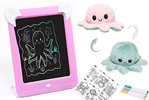 LA PUERTA MÁGICA Pizarra magnética infantil + PULPO reversible - pizarra mágica para niños con marco de fotos y luces led ( 8 efectos de luces , 4 rotuladores y 20 patrones de dibujo) (Rosa)