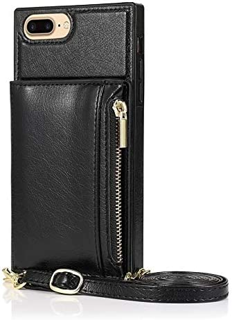 SLDiann Case for iPhone 7/8 Plus, Zipper Wallet Case with Credit Card Holder/Crossbody Long Lanyard, Shockproof Leather TPU Case Cover for iPhone iPhone 7/8 Plus (Color : Black)