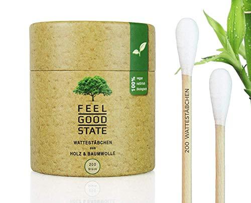 200 Wattestäbchen aus Holz von Feel Good State l inkl. Spender-Box im Bambus-Design l 100% biologisch abbaubar, nachhaltig und plastikfrei