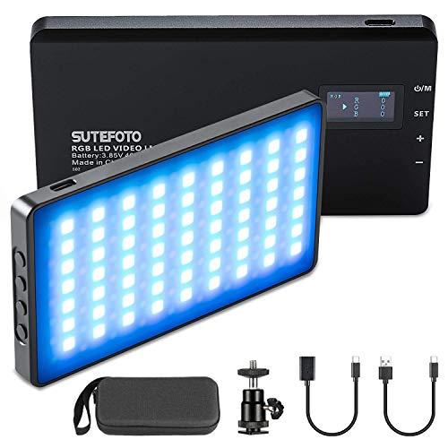 RGB LED-Videoleuchte 2500K ~ 8500K 0-1530 ° Vollfarbkamerabeleuchtung Aluminiumgehäuse 0-100% einstellbares dimmbares Fotolicht mit eingebautem 4000 mAh Akku und 360 ° Einstellbarer Blitzschraube