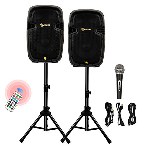 "C-CHAIN 10"" Dual 2-Way Powered PA Speaker System, Portable DJ Speaker with Active + Passive Speakers, 2 Speaker Stands, Microphone, Bluetooth, USB/SD Card, FM Radio, Remote Control (10 inch)"