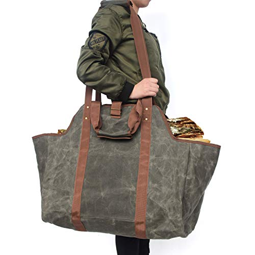 Learn More About SRFDD Fireplace Log Bag,Portable Firewood Storage Bag,Canvas Log Carrier Bag - Wa...
