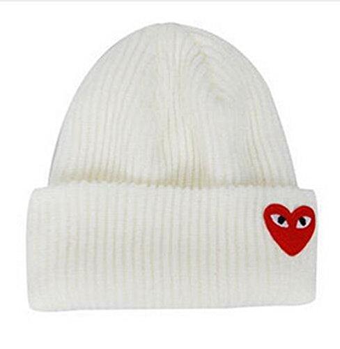 Invierno Mujer Sombreros cálidos Ojos de corazón Etiqueta de Dibujos Animados Gorros Sombrero de Punto Gorros de Gorro Sombrero de Hombre Gorro de Ganchillo Skullies-White