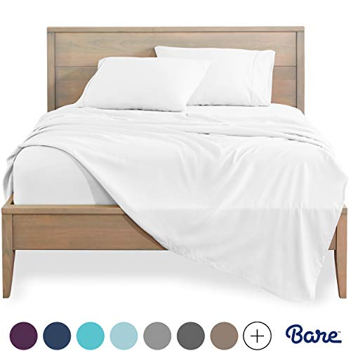 Bare Home Queen Sheet Set - 1800 Ultra-Soft Microfiber Bed Sheets - Double Brushed Breathable Bedding - Hypoallergenic – Wrinkle Resistant - Deep Pocket (Queen, Cool White)