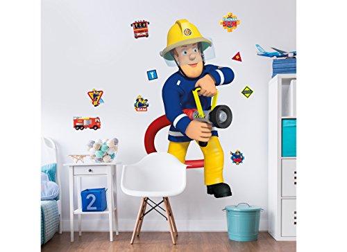 Walltastic Sam, der Feuerwehrmann, großer Figuraufkleber Wandaufkleber, Polypropylene, Multi, 13 ft Tall, 3 Large Sheets