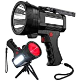 BIGSUN Rechargeable Spotlight, High High Lumens 100000 LED Flashlight With Red Lens, 10800mAh USB Power Bank, Left Side Floodlamp & Warning Lamp for Home Security, Camping, Boat, Hunting and More,