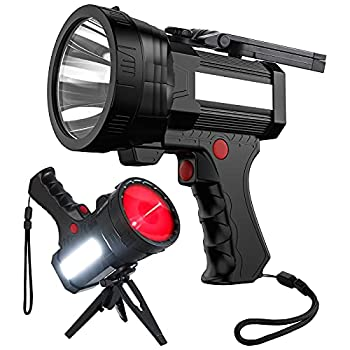 BIGSUN Rechargeable Spotlight High High Lumens 100000 LED Flashlight With Red Lens 10800mAh USB Power Bank Left Side Floodlamp & Warning Lamp for Home Security Camping Boat Hunting and More,