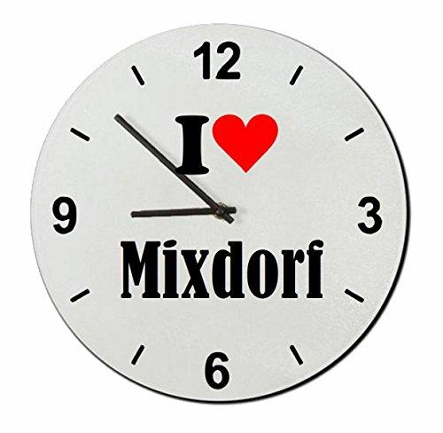 Druckerlebnis24 Glasuhr I Love Mixdorf eine tolle Geschenkidee die von Herzen kommt  Wanduhr  Geschenktipp: Weihnachten Jahrestag Geburtstag Lieblingsmensch