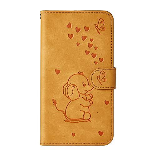 Ailisi Samsung Galaxy A8s Hülle, Karikatur Elefantenbaby Muster Leder Handyhülle Brieftasche Schutzhülle Leder Flip Hülle Wallet Cover Klapphüllen Tasche Etui mit Kartenfächern+Stand -Gelb