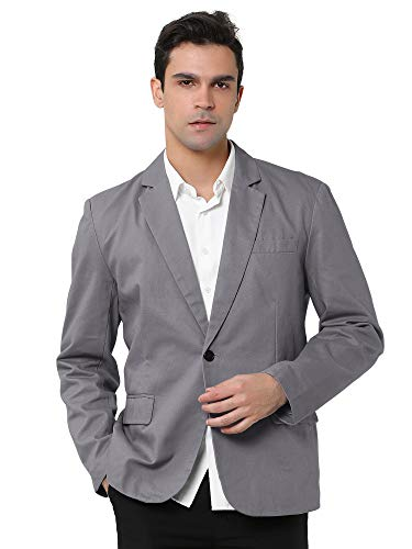 uxcell Men's Suit Jacket One Button Slim Fit Casual Lightweight Sport Coats Blazer Gray 42