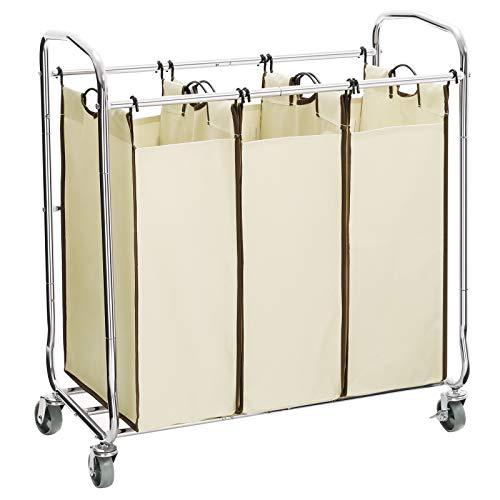 SONGMICS 3-Bag Laundry Sorter Cart on Wheels, Heavy Duty Hamper with Removable Bags, Beige URLS72MZ