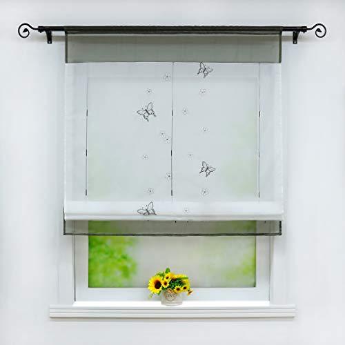 Joyswahl Voile Raffrollo mit Tunnelzug Transparente Bändchenrollo mit Schmetterling-Stickerei »Linde« Schals Fenster Gardine BxH 60x120cm Grau 1 Stück