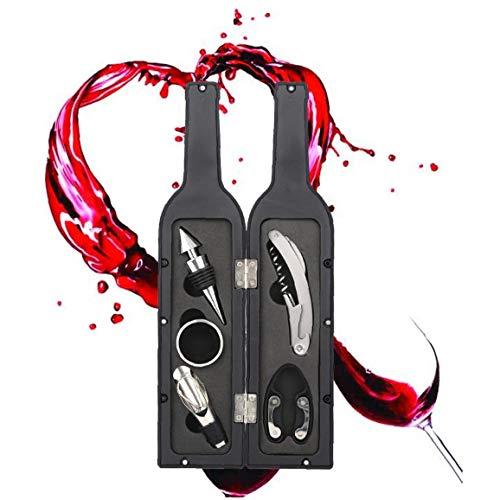 Abrelatas Del Vino Gift Set 5pcs Vino Accesorios Gift Set Incluye Sacacorchos, Tapón, Vertedor De Vino, Lámina Cortadora, Sistema De Herramienta De Goteo Anillo Del Vino Por Un Amante Del Vino