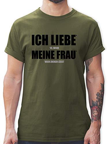 Nerds & Geeks - Ich Liebe Meine Frau - XXL - Army Grün - lustige Shirts für Partner - L190 - Tshirt Herren und Männer T-Shirts