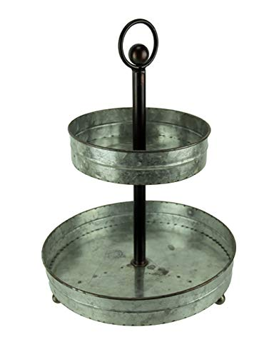 Zeckos Galvanized Metal Rustic Round 2 Tiered Country Farmhouse Tray Serving Stand