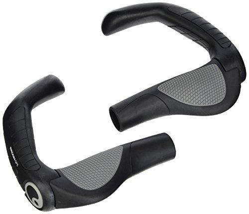 Ergon - GP5 Ergonomische Lock-on Fahrradgriffe mit extra-langem Bar-End | Regular kompatibel | Für Touring & Trekking Bikes | Small | Schwarz/Grau