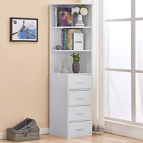 HomeSailing White Living Room Slim Bookcase Cabinet with Drawers and 3 Shelves Corner Wood Unit Storage Display Book Shelves Tall Bedroom Bathroom Cupboard Sideboard for Small Apartment Narrow