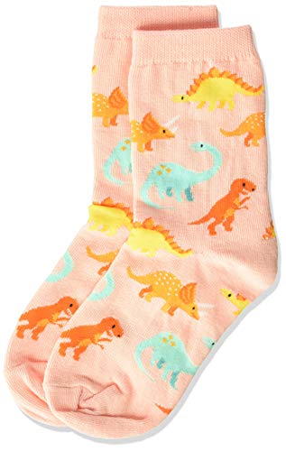 Hot Sox Girls' Big Animal Series Novelty Casual Crew Socks, Dinosaur (Blush), Medium/Large Youth