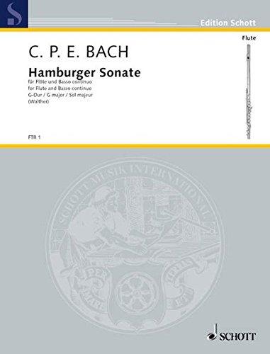 Hamburger Sonate G-Dur: Wq 133. Flöte und Basso continuo (Cembalo/Pianoforte), Violoncello (Viola da gamba) ad libitum. (Edition Schott)