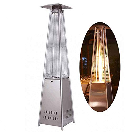LIDS Outdoor Patio Gas Heater Stainless Steel Pyramid Propane Burner Infrared Heater, Free Standing Patio Heaters Tower Heater Garden Heaters Outdoors with Portable Wheels Regulator Hose (White)