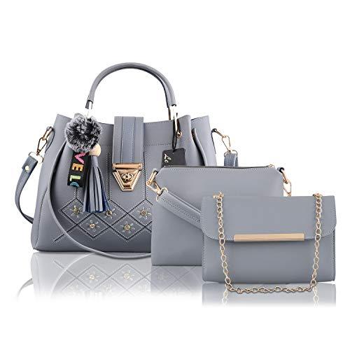 Le Platinum PU Leather Latest Trendy Fashion Ladies Handbag With Sling Bag & Clutch Combo 3pcs Purse Set (Grey)