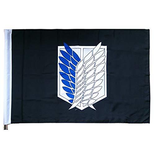 DaiWeiPeng1991 Anime Attack on Titan Flagge Flügel der Freiheit Banner Flagge Polyester dekorative Haus Hof Banner Garten Flagge(Schwarz)