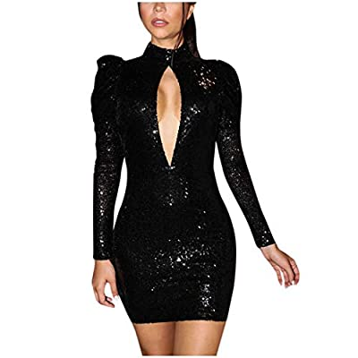 Muranba Womens Sequin Glitter Mini Dress Summer Formal Cocktail Bodycon Champagne Bandage Long Sleeve Backless Party
