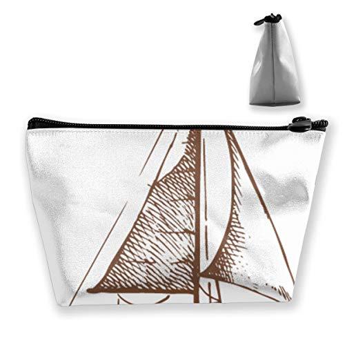 Sailboat in the Sea Retro Zipper Bag Organizer Organizer Maquillage Cosmétique Bureau Stockage