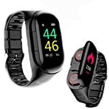 New Upgrade Smartwatch Bluetooth Wireless Earbuds 2 in 1 Indoor Sport Activity Trackers Touch Screen Health Fitness Smart Bracelet Heart Rate Blood Pressure Monitor Compatible iOS Android Women Men