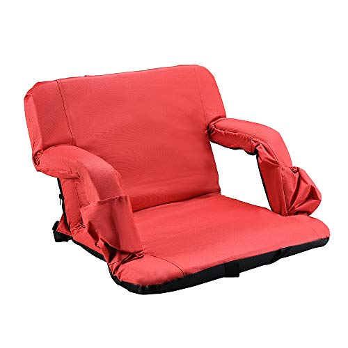 Stadium Seat for Bleachers Portable Reclining Stadium Chair Cushion with Armrests Back Support for Outdoor, Shoulder Straps, Thick Foam Padded, Comfort, Extra Wide, Red