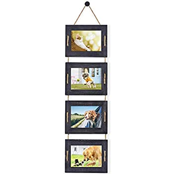 DLQuarts Hanging Picture Frames Collage 5x7 Photo Frames for Wall 4-Opening 3.5x5 With Mat or 5x7 Without Mat Rustic Solid Wood Multi Picture Frames for Family Weathered Black