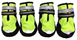 Xanday Dog Boots Waterproof Dog Shoes,Paw Protectors with Reflective and Adjustable Straps and Wear-Resisting Soles,4PCS (Fluorescent Green,2)