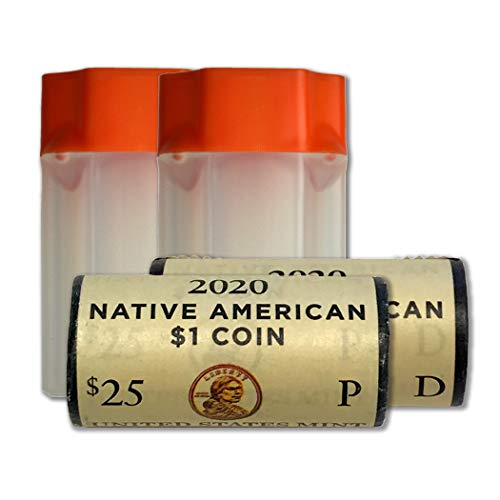 2020 P & D Native American Sacagawea US Mint Wrapped Roll BU in Protective Tubes