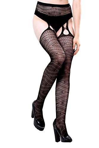 PrettyLovebroek panty, open, netstof, zwart, straphouder, motief diamond ruit