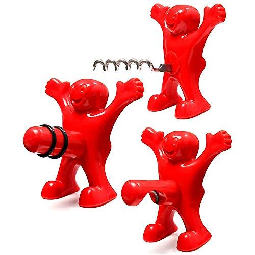 WELLXUNK 3 Pezzi Uomo Rosso Apribottiglie,Apribottiglie Happy Man Tappo per Bottiglia di Vino - Bottiglia di Vino Cavatappi -3-And-1 Cavatappi Divertente-Tre Simpatici Uomini Rossi Composizione
