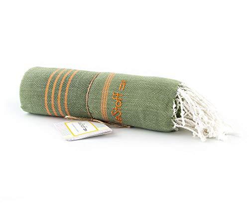 LeStoff - Toalla de algodón orgánico con Certificado Gots. Ligero y Ultra Absorbente. Olive - Orange 95 x 180 cm